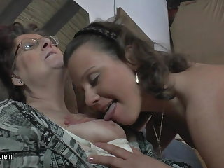 Unpretentious amateur 3 old and young lesbians fuck forever other