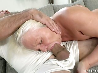 Old wise woman Anett is fucked hard by hot blooded varlet