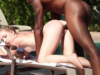 Cute Blonde Teen Fucked By Big Black Weasel words Near The Pool