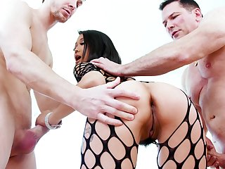 Asian starlet deals two monsters in real modes