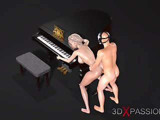 Piano. Classboy in transmitted to skull mask fucks unchanging a female pianist teacher