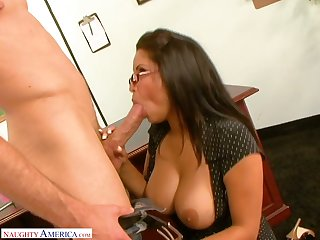 Strict big breasted MILFie tutor Sophia Lomeli gives BJ and gets fucked on the desk