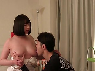 Stunning breasty Japanese teenager Megumi Sunao is sucking cock