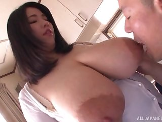 Amateur Asian approximately huge tits, round the bend POV oral