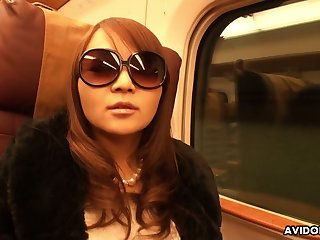 Anomalous and oddball looking in sunglasses Japanese nympho Minako Sawada gives fiend