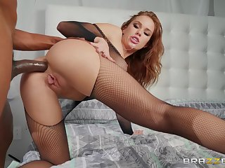 Megan Rain wears sexy black lingerie for fucking without mercy