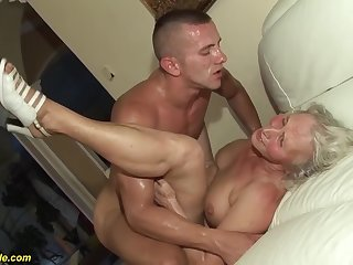 horny 76 years old granny gives a wikd knocker fuck and extreme deepthroat for her young toyboy