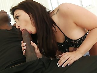 Huge black phallus invades deep throat and drenched cunt be proper of white chick Ivy Lebelle