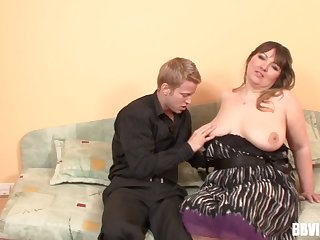 Plump brunette whore sucking a detect and good-looking a ride on it
