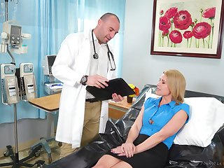Fake tittied blond patient Kit Mercer hooks up with handsome doctor