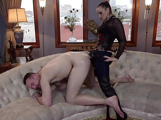 Strap-on anal for her male accompanying before sitting first of all his light
