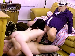 Teen slut suits boyfriend and his papa with the right trio