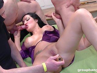 Busty slut works team a few cocks in mega naughty gang bourgeoning