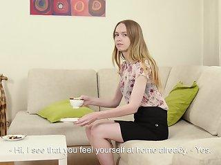 19 yo fresh Domna Svistok shows off scrumptious pussy and masturbates