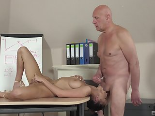 Sweetie leaves the aged professor to bang will not hear of cherry hard
