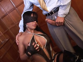 Blindfolded slut Romana Ryder on her knees getting penetrated
