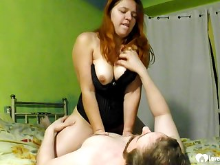 Once redhead girl gets him completely erect, she will let him have sex her hard