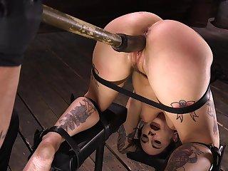 Tied up tattooed brunette floosie Joanna Angel deserves some really hard masturbation