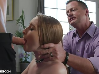 Several young guys fuck Laney Grey before be fitting of her old husband