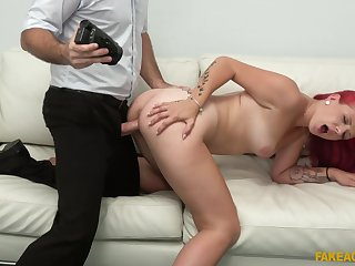 Redhead fucked in doggy style and made to swallow