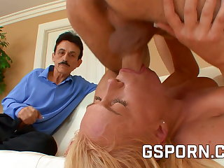 Hot natural blonde fucking hard for her cuckold