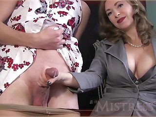 Experienced woman is unselfish a gentle handjob to a handsome guy, in ordinance of the camera