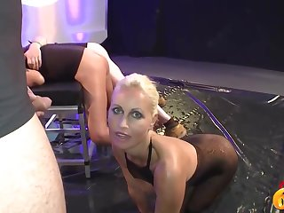 Delicious blonde milf with big, unchanging tits likes forth suck dicks and get golden precipitation