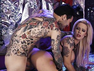 Fucking hot tattooed blonde Luna Skye takes cumshots on big fake boobs