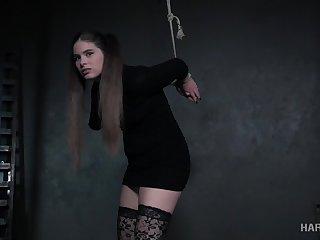 Submissive tied up bitch in Stygian stuff Lexxxi Nicole Phosphorescence gets masturbated
