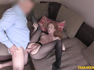 Redhead in sexy pantyhose is ready for her first cast aside fuck
