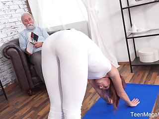 An old man with a kinky be careful fucks his fit stepdaughter