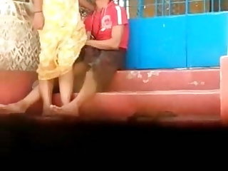 Public fuck with girl in yellow dress