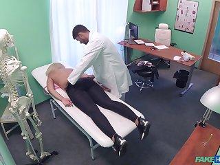 Doctor loads blonde woman's cunt regarding the juicy sperm