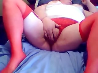 Unsightly red haired BBW hooker is masturbating her twat for me