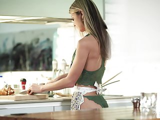 Petite tie the knot Gina Gerson is coitus with her husband in the kitchen