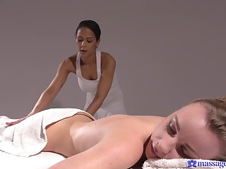 X lesbo sex primarily burnish apply rub-down table with French babe Angel Emily