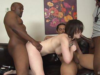 Black guys gangbang coupled with DP sluttish brunette Jennifer White