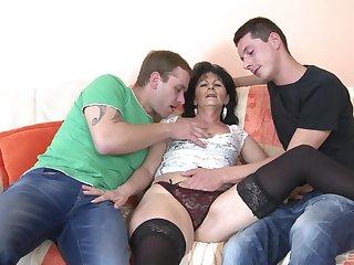 Two younger dudes join up to fuck mature slut Renata Kalinova
