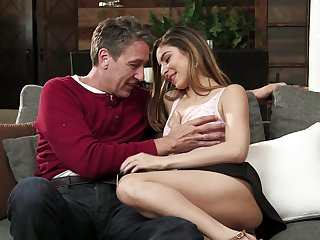 Nina North and her sexy shaved pussy are up upon elderly tricks
