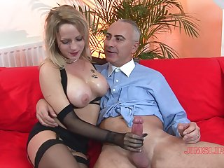 Big-busted blonde mature works magic not far from those marvellous hands