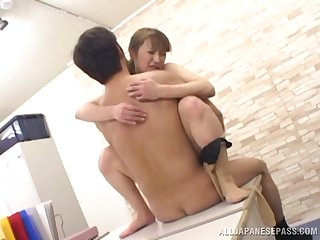 Skinny Japanese Untrained gives a blowjob with the addition of gets fucked in the office